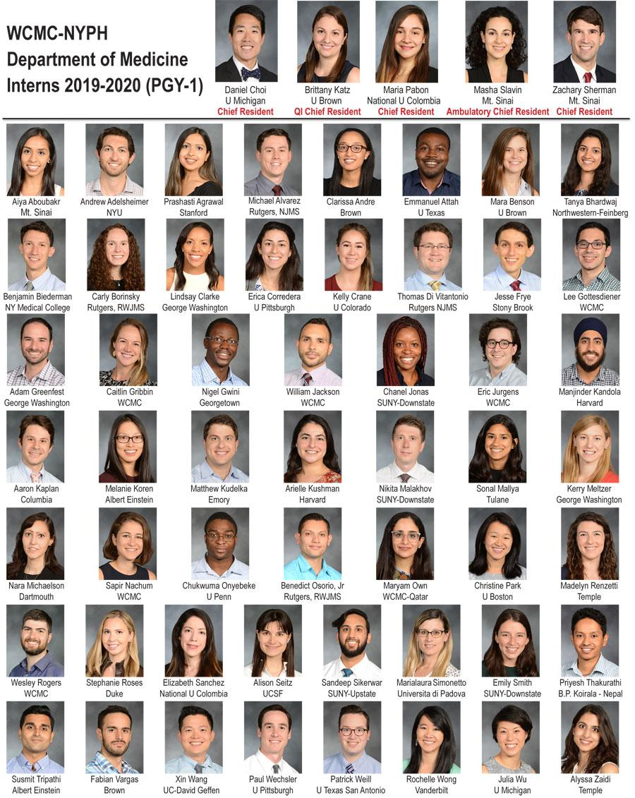 Weill Department of Medicine Interns 2019-2020 (PGY-1)