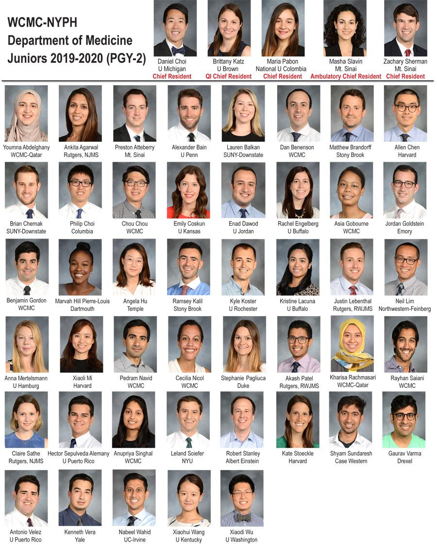 Weill Department of Medicine Juniors 2019-2020 (PGY-2)