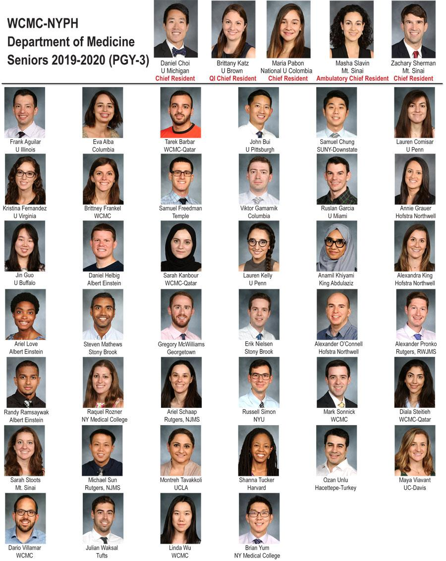 Weill Department of Medicine Seniors 2019-2020 (PGY-3)