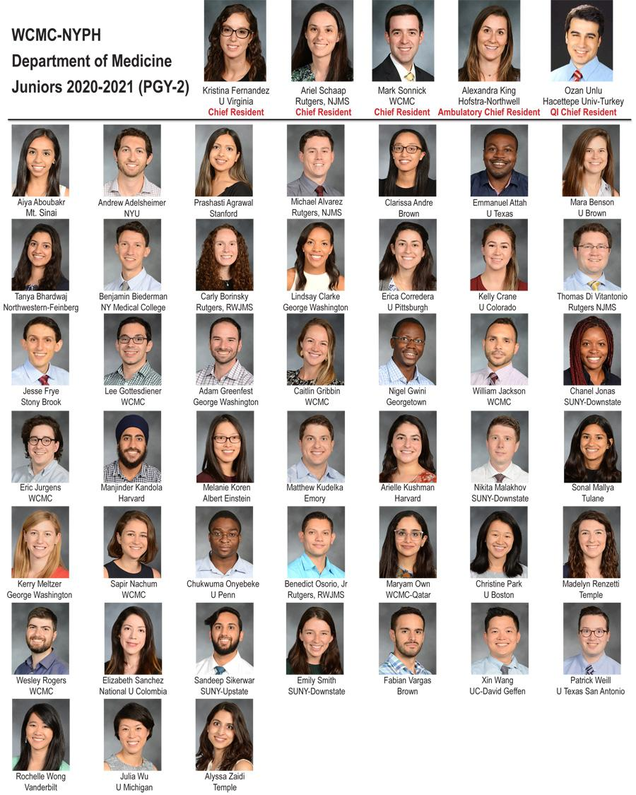Weill Department of Medicine Juniors 2020-21 (PGY-2)