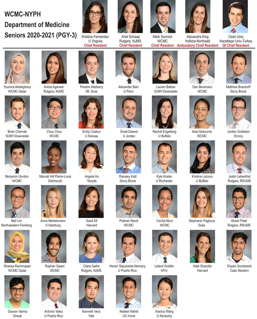 Weill Department of Medicine Seniors 2020-21 (PGY-3)