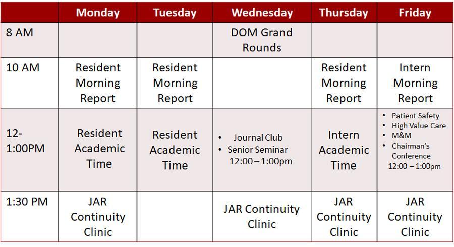 Inpatient Conference Schedule, 2019-20