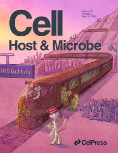 Cell Host & Microbe cover. Artwork by C. Demarta, eureka comunicazione visiva, courtesy of Cell Press.